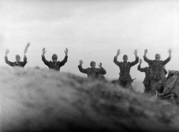 German soldiers surrendering after the Allied invasion in Quinville on June 9.