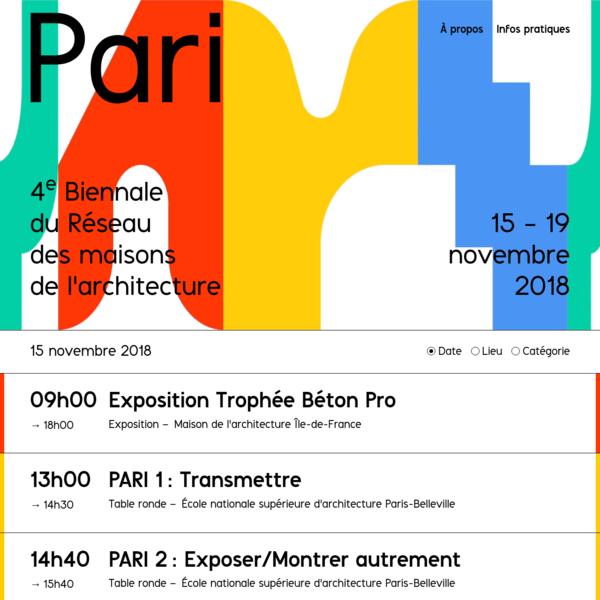 PARI - 4ᵉ Biennale du Réseau des maisons de l'architecture