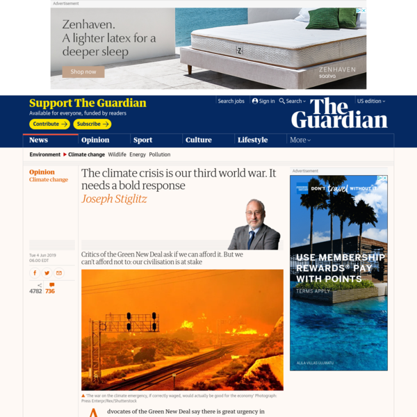 The climate crisis is our third world war. It needs a bold response | Joseph Stiglitz