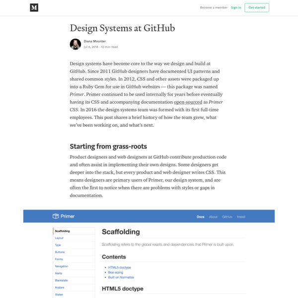 Design systems at GitHub