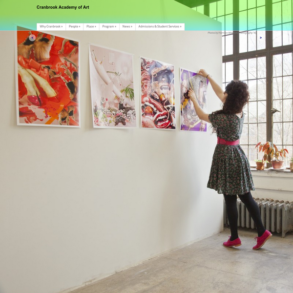 Cranbrook Academy of Art is an independent, graduate degree-granting institution offering an intense studio-based experience where artists-in-residence mentor students in architecture, art, and design to creatively influence contemporary culture.