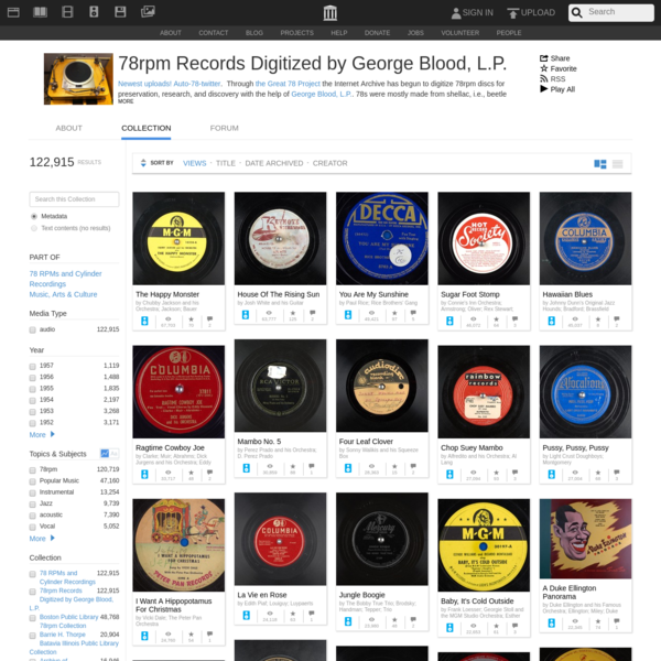 78rpm Records Digitized by George Blood, L.P. : Free Audio : Free Download, Borrow and Streaming : Internet Archive