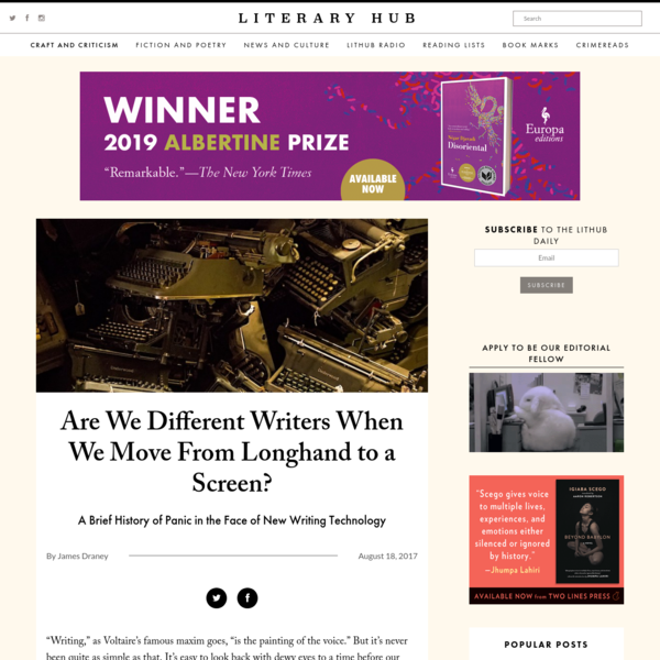 Are We Different Writers When We Move From Longhand to a Screen?