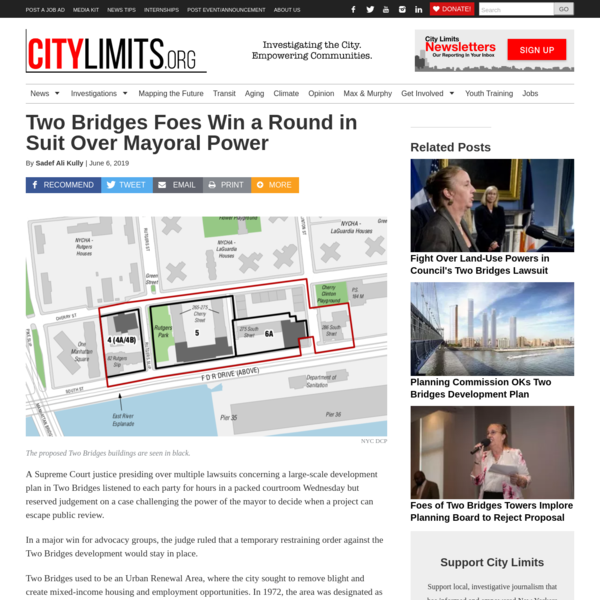 Two Bridges Foes Win a Round in Suit Over Mayoral Power