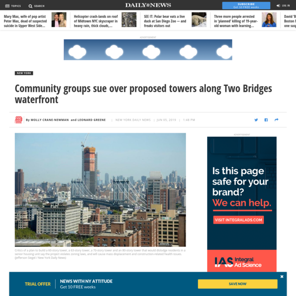 Community groups sue over proposed towers along Two Bridges waterfront