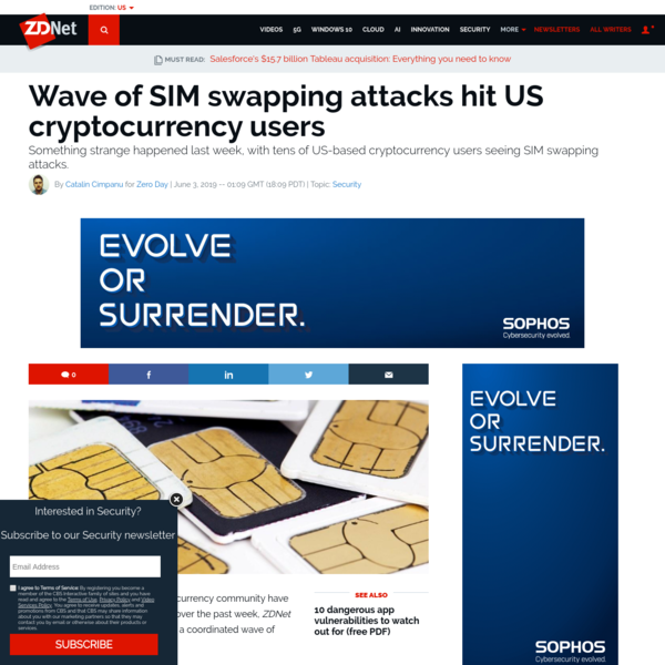 Wave of SIM swapping attacks hit US cryptocurrency users | ZDNet