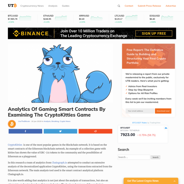 Analytics Of Gaming Smart Contracts By Examining The CryptoKitties Game | UseTheBitcoin