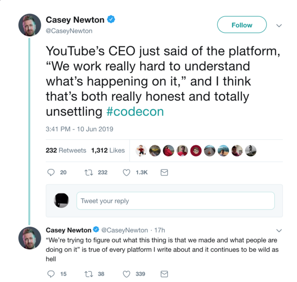 Quote from YouTube's CEO on dealing with emergence on the platform.