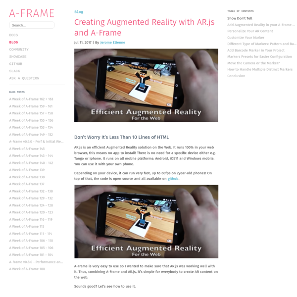 Creating Augmented Reality with AR.js and A-Frame - A-Frame