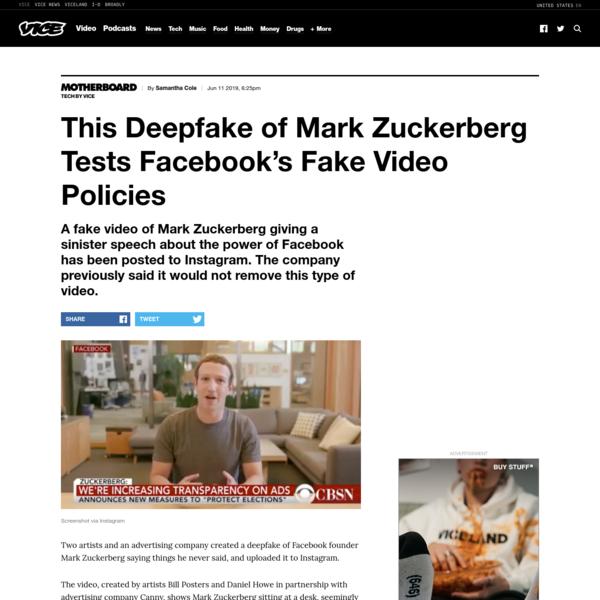 This Deepfake of Mark Zuckerberg Tests Facebook's Fake Video Policies