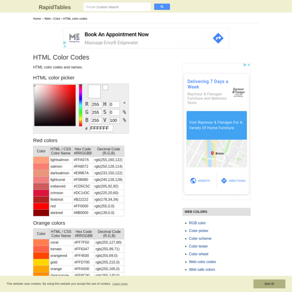 HTML Color Codes Chart