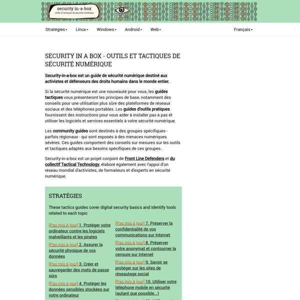 Security in a Box - outils et tactiques de sécurité numérique