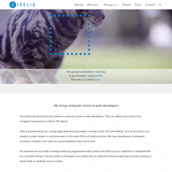 Jeeliz : Deep learning for real-time video analysis in the web browser