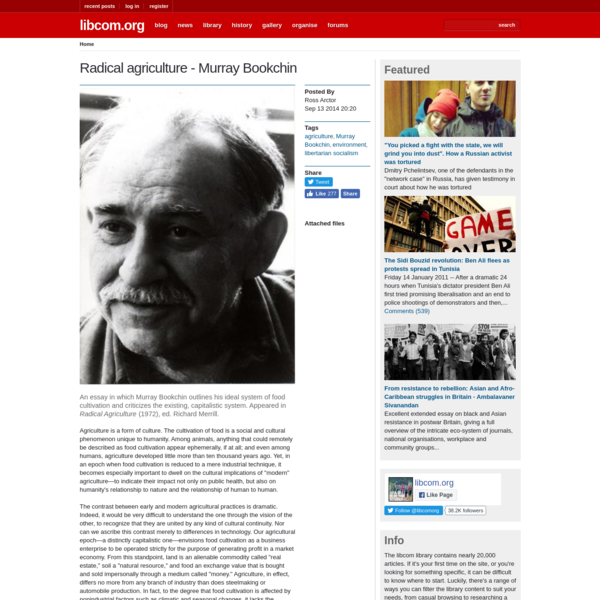 Radical agriculture - Murray Bookchin