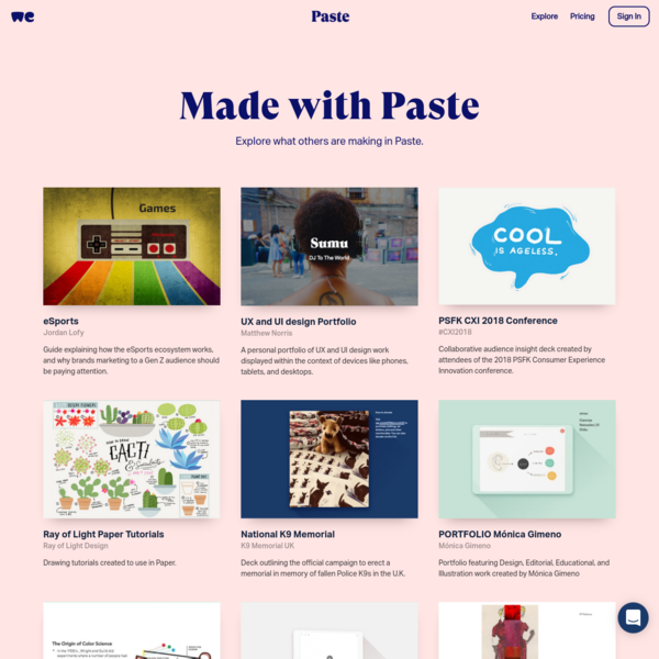 Explore | Made with Paste by WeTransfer
