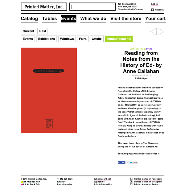 Printed Matter, Inc. is an independent 501(c)(3) non-profit organization founded in 1976 by artists and art workers with the mission to foster the appreciation, dissemination, and understanding of artists' books and other artists' publications.