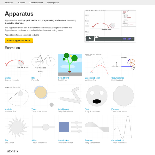 Apparatus is a hybrid graphics editor and programming environment for creating interactive diagrams.