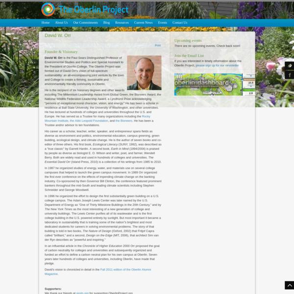 David W. Orr - The Oberlin Project - Oberlin Ohio