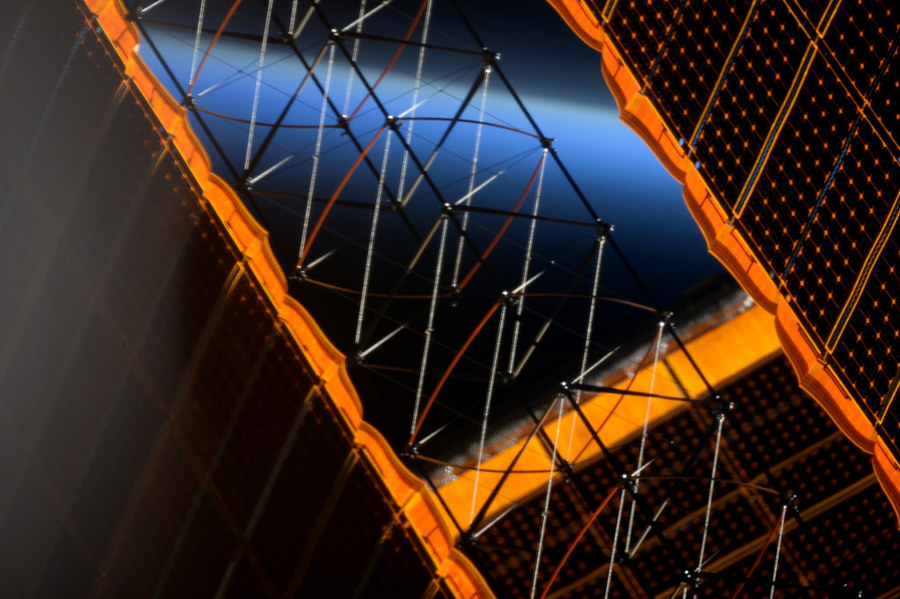 Still fascinated by the elegant beauty of our solar panels. #OurOutpostInSpace Credit: ESA/NASA