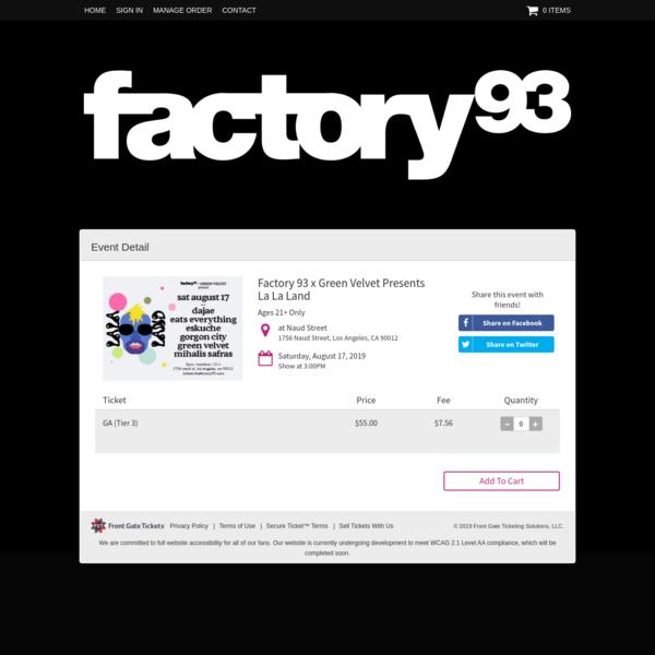 Factory 93 x Green Velvet Presents La La Land