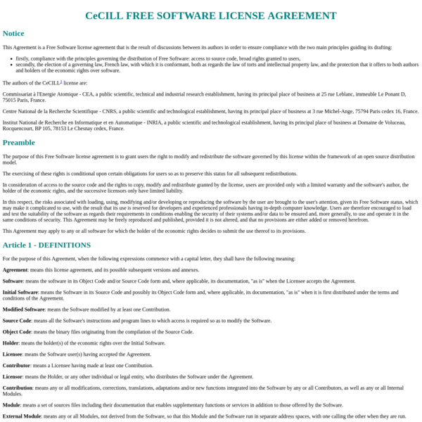 CeCILL FREE SOFTWARE LICENSE AGREEMENT