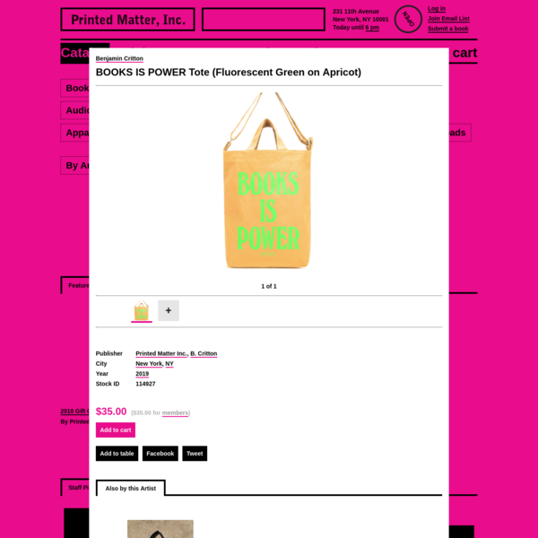 Benjamin Critton - BOOKS IS POWER Tote (Fluorescent Green on Apricot) - Printed Matter