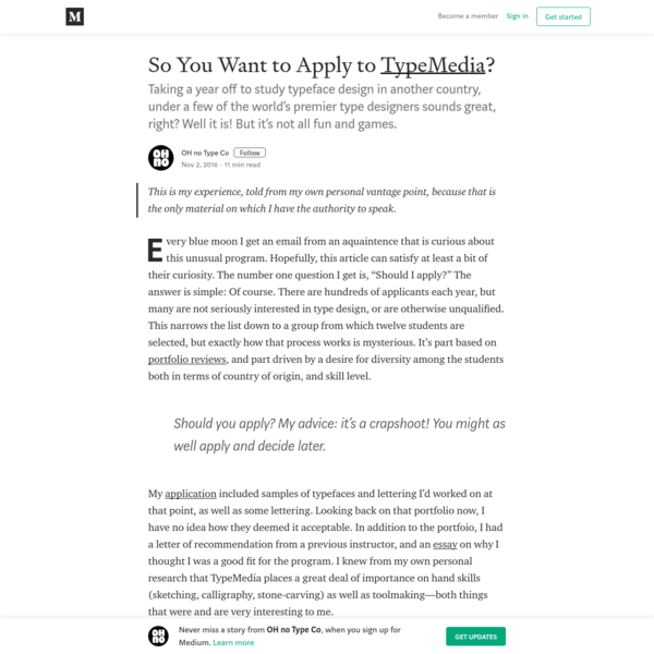 So You Want to Apply to TypeMedia?