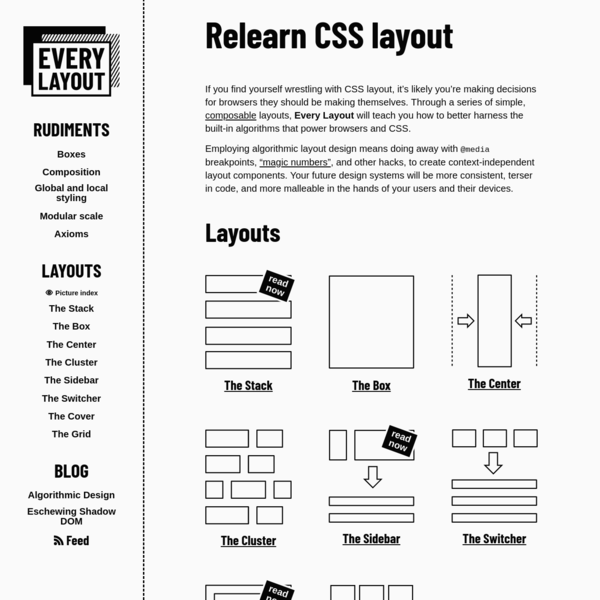 Relearn CSS layout: Every Layout
