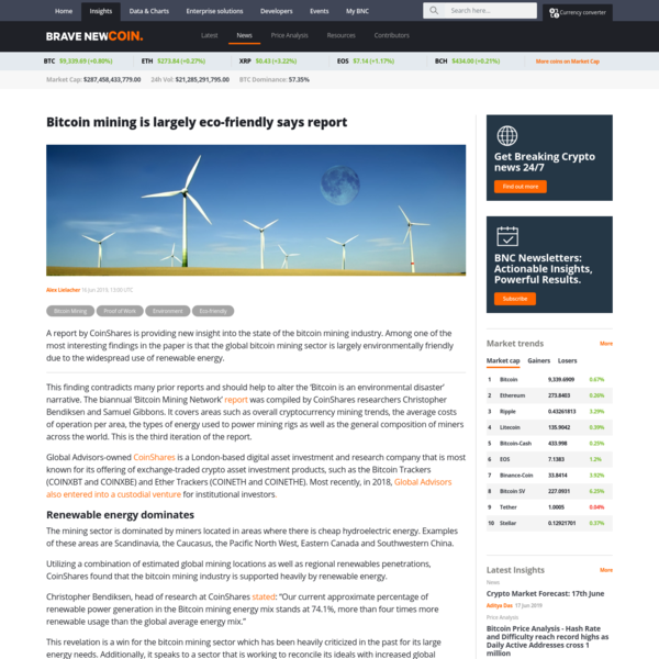 Bitcoin mining is largely eco-friendly says report » Brave New Coin