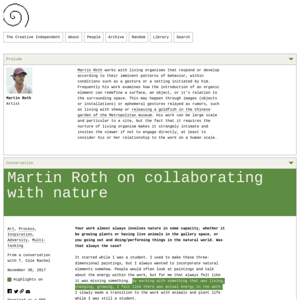 Martin Roth on Collaborating with Nature