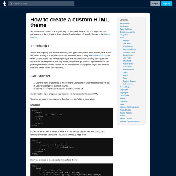 Creating a custom HTML theme   Tumblr