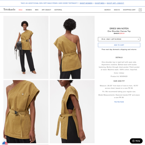 Totokaelo One Shoulder Canvas Top