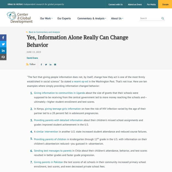 Yes, Information Alone Really Can Change Behavior
