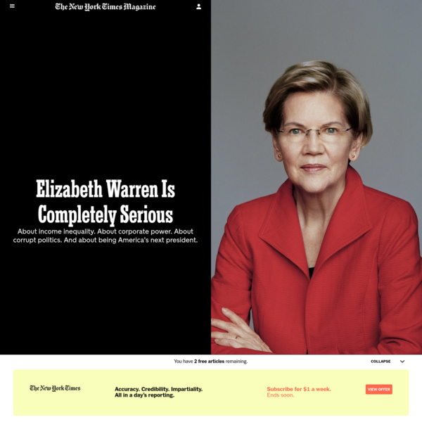 Elizabeth Warren Is Completely Serious - The New York Times