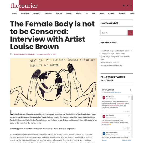 The Female Body is not to be Censored: Interview with Artist Louise Brown