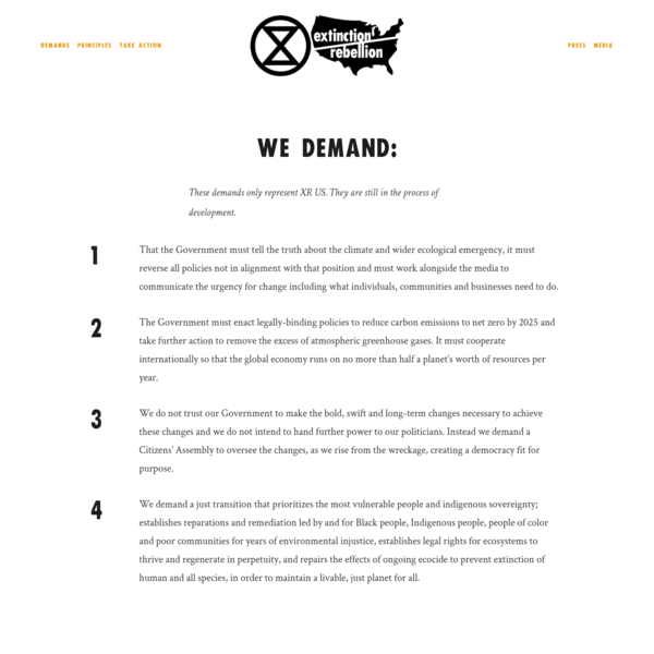 Demands - Extinction Rebellion US