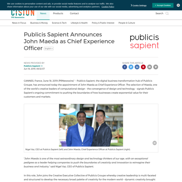 Publicis Sapient Announces John Maeda as Chief Experience Officer