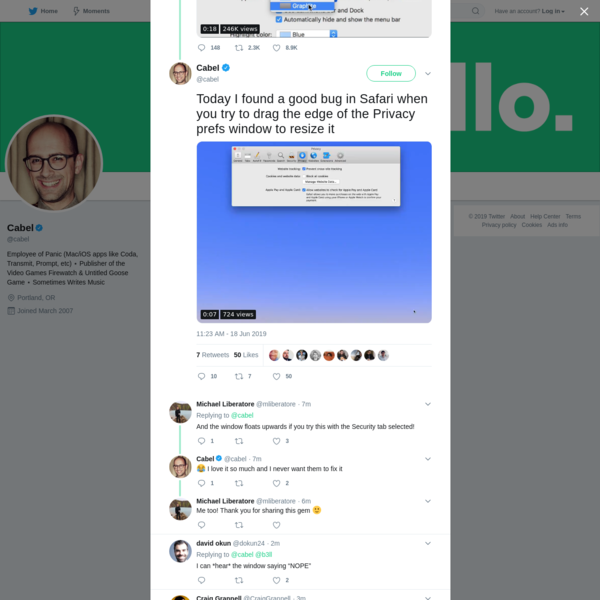 """Cabel on Twitter: """"Today I found a good bug in Safari when you try to drag the edge of the Privacy prefs window to resize it https://t.co/IX7dIelIZo"""" / Twitter"""