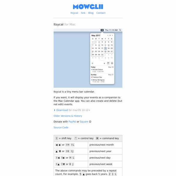 Mowglii - Itsycal for Mac