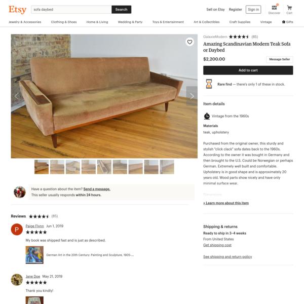 Amazing Scandinavian Modern Teak Sofa or Daybed