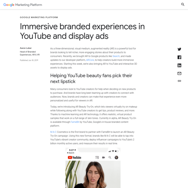 Immersive branded experiences in YouTube and display ads