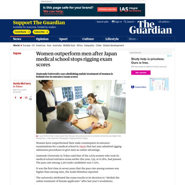 Women outperform men after Japan medical school stops rigging exam scores