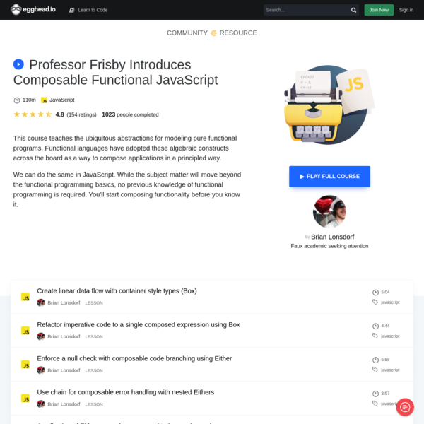 Professor Frisby Introduces Composable Functional JavaScript