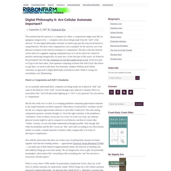 Digital Philosophy II: Are Cellular Automata Important?
