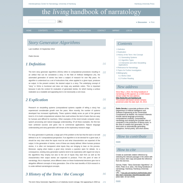 Story Generator Algorithms - the living handbook of narratology
