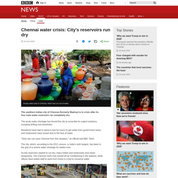 Chennai water crisis: City's reservoirs run dry - BBC News