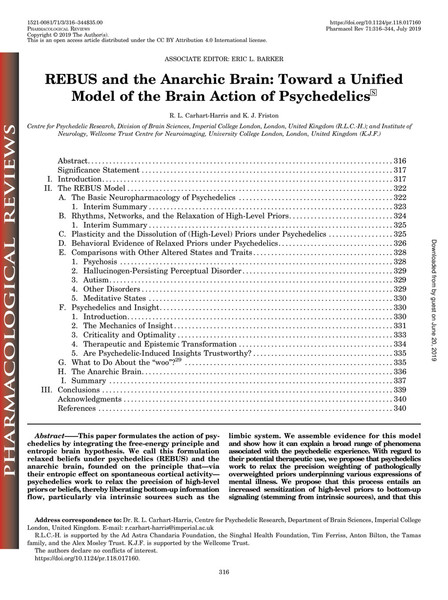 REBUS and the Anarchic Brain: Toward a Unified Model of the Brain Action of Psychedelics