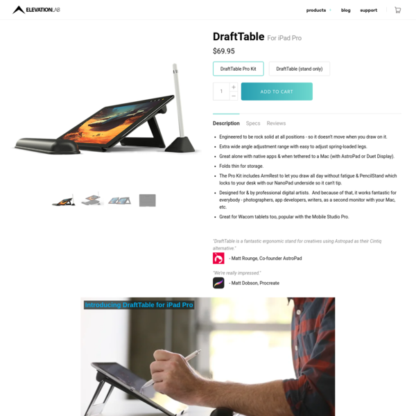 DraftTable - Professional iPad Pro Stand
