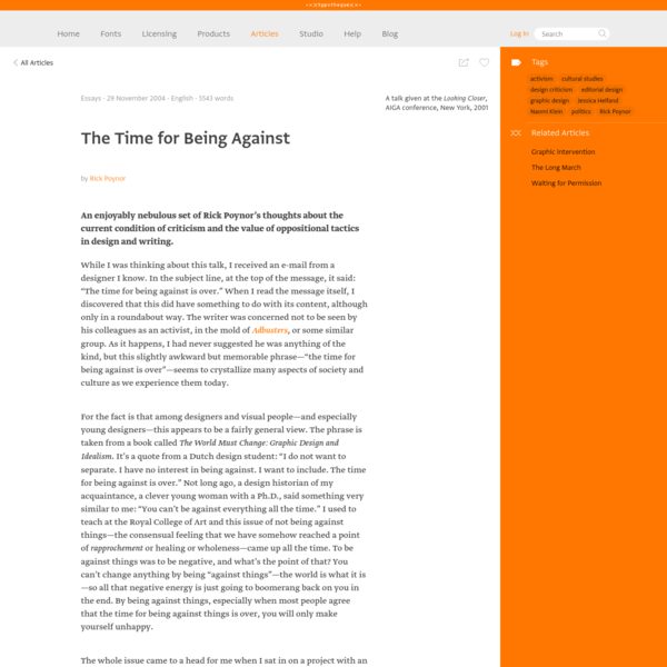 Typotheque: The Time for Being Against by Rick Poynor