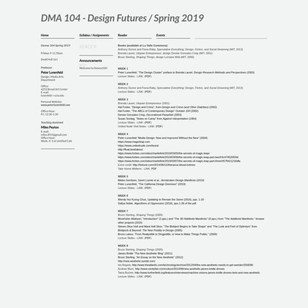 DMA 104 - Design Futures / Spring 2019